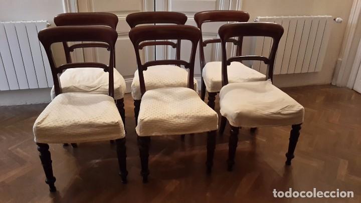 grupo de 6 sillas de comedor de caoba victorian  Comprar