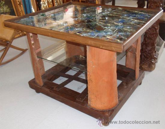 mesa de madera forja vidrio barro medida 83  Comprar