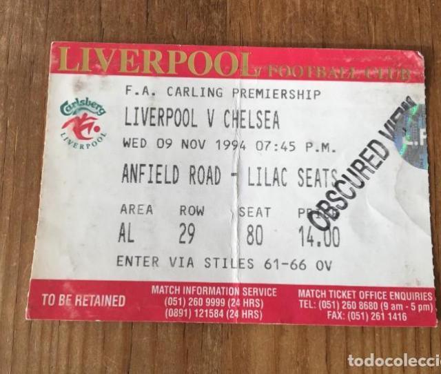 R4621 Entrada Ticket Futbol Liverpool Chelsea Fa Carling 1994 Coleccionismo Deportivo Documentos De Deportes