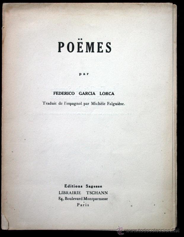 Federico Garcia Lorca Poèmes En Français : federico, garcia, lorca, poèmes, français, Federico, Garcia, Lorca, Poëmes, Editions, Sages, Books, Poetry, Todocoleccion, 42351916