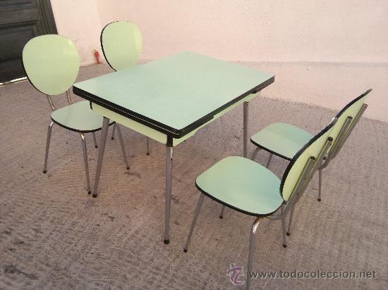 mesa y 4 sillas de cocina de formica aos 60  Comprar Muebles vintage en todocoleccion  33267074