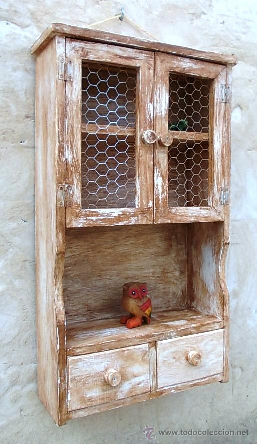 Mueble especiero de madera decapado vintage   Vendido