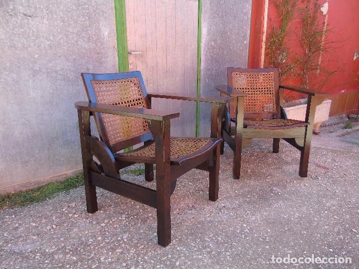 Pareja de sillones butacas vintage de madera y  Vendido en Venta Directa  84686012