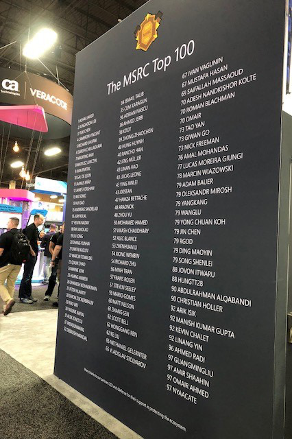 Image of the Top 100 sign at the Black Hat Conference.