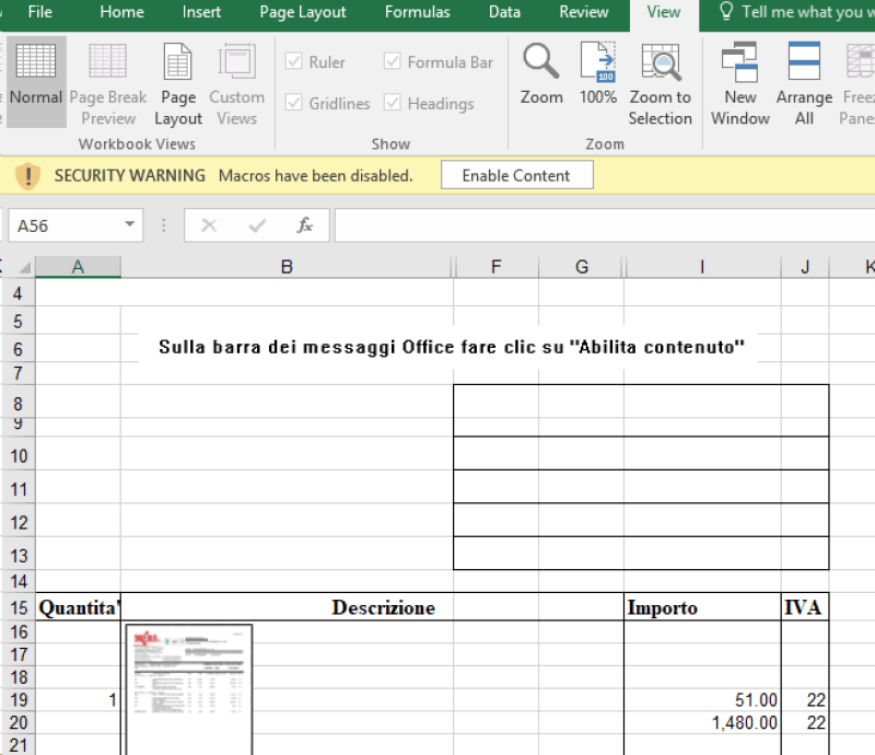Screenshot of malicious Excel document with instructions in Italian to click Enable content