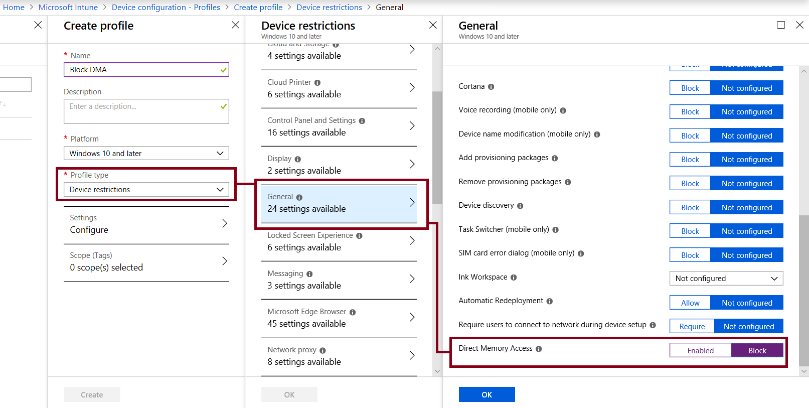 Screenshot of Device Restrictions policy and setting