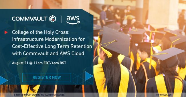 Webinar: College of the Holy Cross – Infrastructure Modernization for Cost-Effective Long Term Retention with Commvault and AWS Cloud