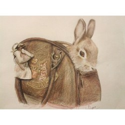 Rabbit sitting in a handbag drawing by clouded ideas 2014 faber castell
