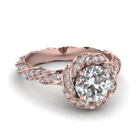White and rose gold halo engagement rings | Cool costume ...
