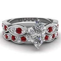 Marquise Shaped Diamond Wedding Sets With Red Ruby In 14k
