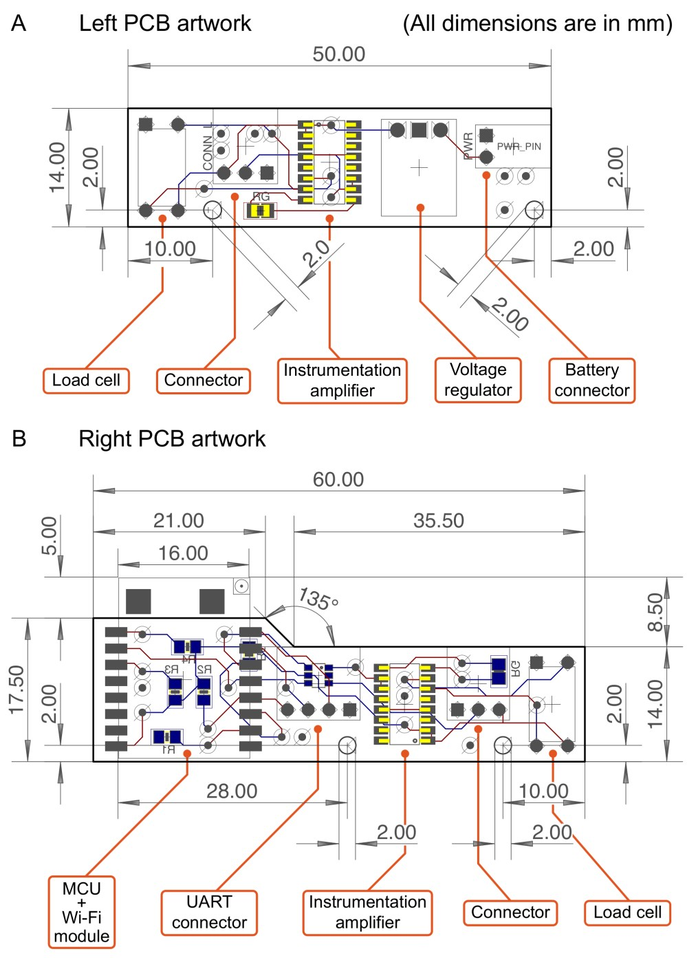 medium resolution of all electronic components are displayed as actual measurements in mm b an artwork of the right pcb