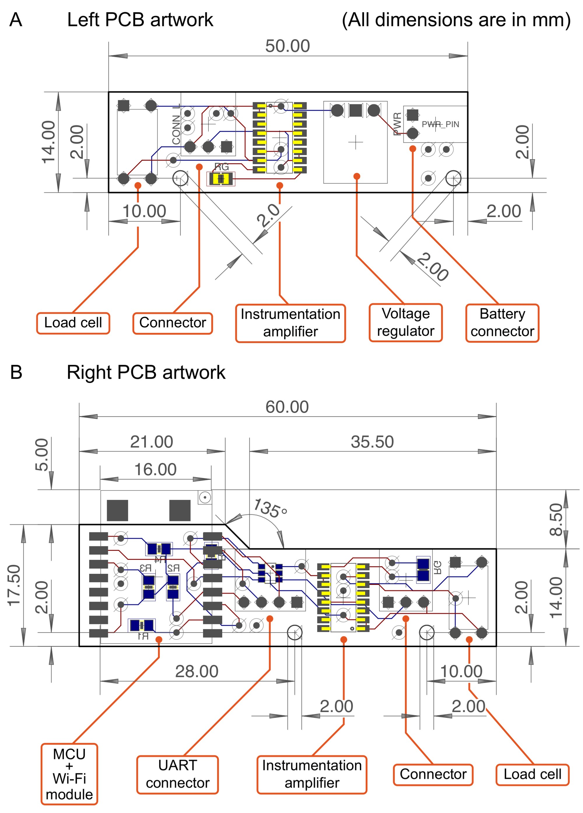 hight resolution of all electronic components are displayed as actual measurements in mm b an artwork of the right pcb