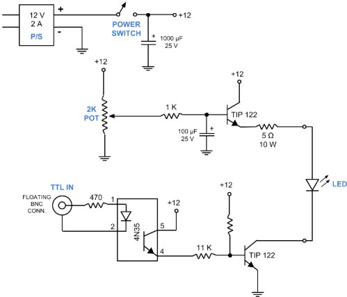 small resolution of circuit diagram for an led control unit a simple and inexpensive circuit for light delivery a super bright led 475 nm is attached to a heat sink and