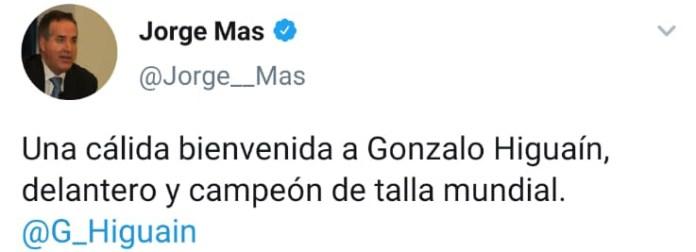 La publicación del gerente del Inter Miami en su recepción a Gonzalo Higuaín al llegar a Miami