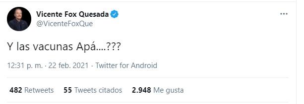 El expresidente exigió que las autoridades de salud se hagan cargo de las vacunas contra el COVID-19. (Foto: captura de pantalla Twitter @VicenteFoxQue)