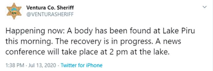 El mensaje de la policía confirmando el hallazgo de un cuerpo en el lago Piru