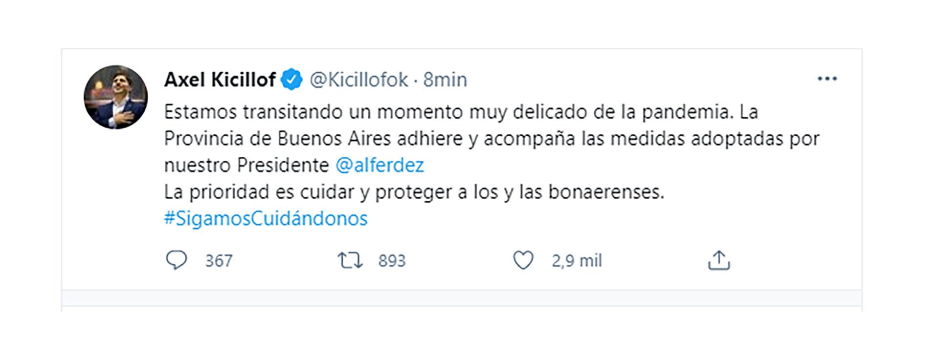 El mensaje del gobernador de Buenos Aires luego del mensaje presidencial