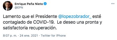 Former President Peña Nieto took to social networks to wish AMLO a speedy recovery (Photo: Twitter)