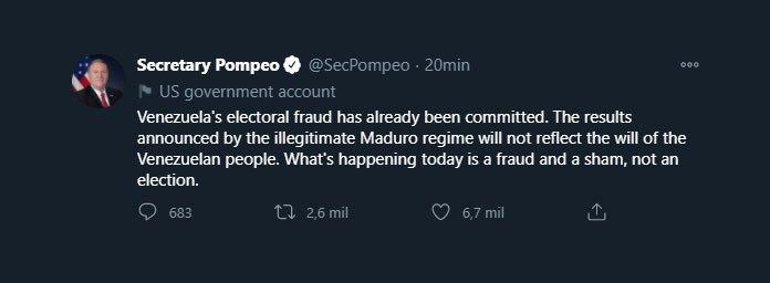 Pompeo's tweet (Twitter: @SecPompeo)