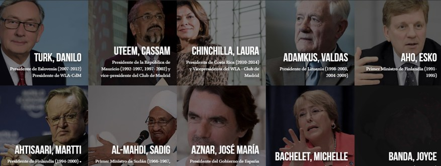Some of the former leaders that make up the Club of Madrid, as they appear on their website