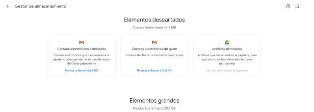 Así muestra la información el Administrador de Almacenamiento en Google One
