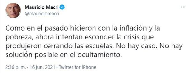 Los mensajes de Macri (@mauriciomacri)