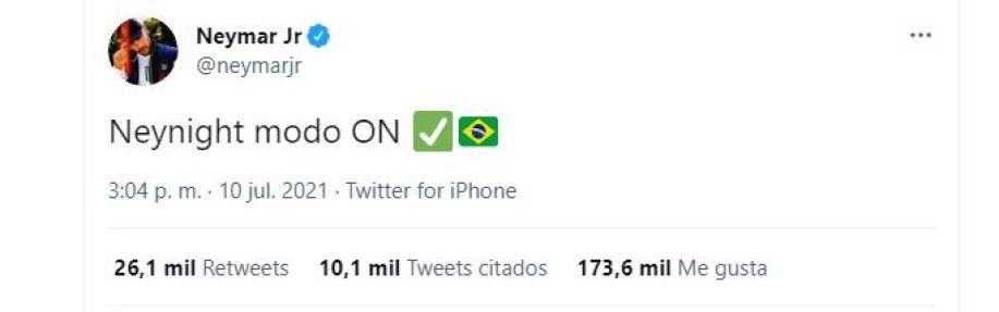 El mensaje de Neymar en la previa de la final de la Copa América ante Argentina