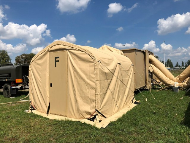 One of the shower facilities available to U.S. Air Force personnel during the DABS proof of concept, which ran from July 16 to Aug. 14, 2018, at Poland's 31st Air Base. (Valerie Insinna/Staff)