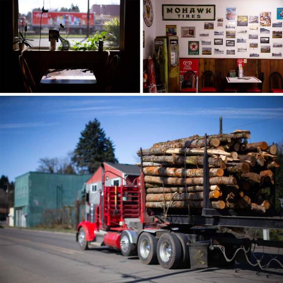 Top left: The Boondocks, a restaurant in Falls City, Ore.; top right: Frink's General Store, a market in town; bottom: a truck carrying logs rolls through Falls City.