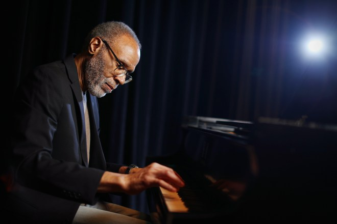 """Pianist Jawanza Kobie sits for a portrait at the Philadelphia Clef Club of Jazz and Performing Arts in South Philadelphia on Wednesday, March 10, 2021. He released his second album, """"Jawanza Kobie Jazz Composer,"""" on Feb. 26."""