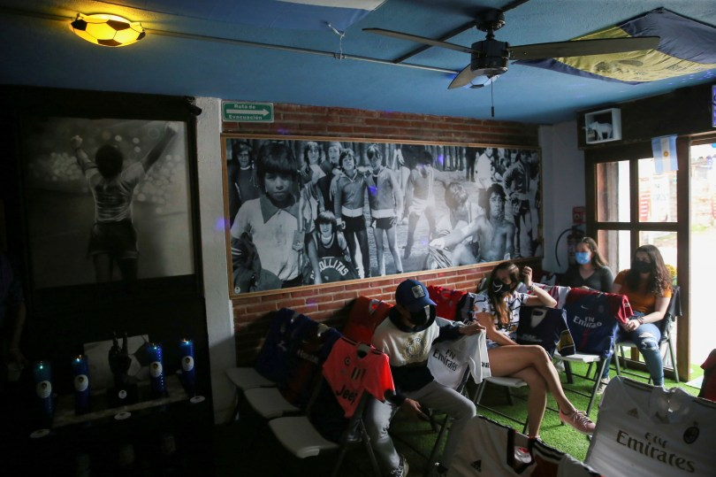 Fans visit the first Mexico's church in memory of soccer legend Diego Armando Maradona in San Andres Cholula, in Puebla state, Mexico July 14, 2021. Picture taken July 14, 2021. REUTERS/Edgard Garrido