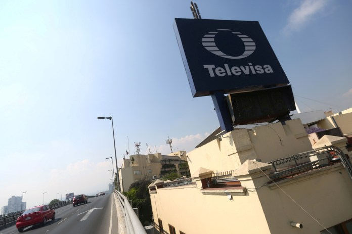 The logo of broadcaster Televisa is seen outside its headquarters in Mexico City, Mexico, March 9, 2017.  REUTERS/Edgard Garrido/File Photo