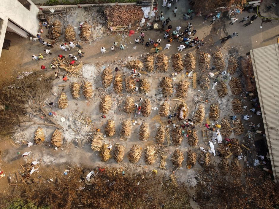 The grounds are prepared for mass cremation of coronavirus disease (COVID-19) victims in New Delhi, India, April 28, 2021. Picture taken on April 28, 2021. Picture taken with a drone. REUTERS/Danish Siddiqui/File Photo