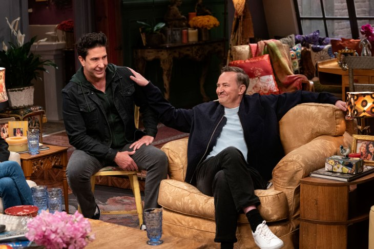 """David Schwimmer and Matthew Perry are seen during the """"Friends"""" reunion. Courtesy of HBO Max"""