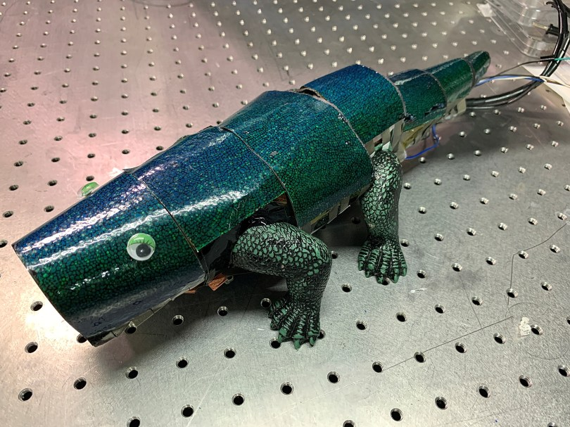Chameleon robot covered with artificial skin that can change its colour based on surroundings, is seen in Seoul, South Korea, September 7, 2021. Picture taken September 4, 2021. REUTERS/Minwoo Park