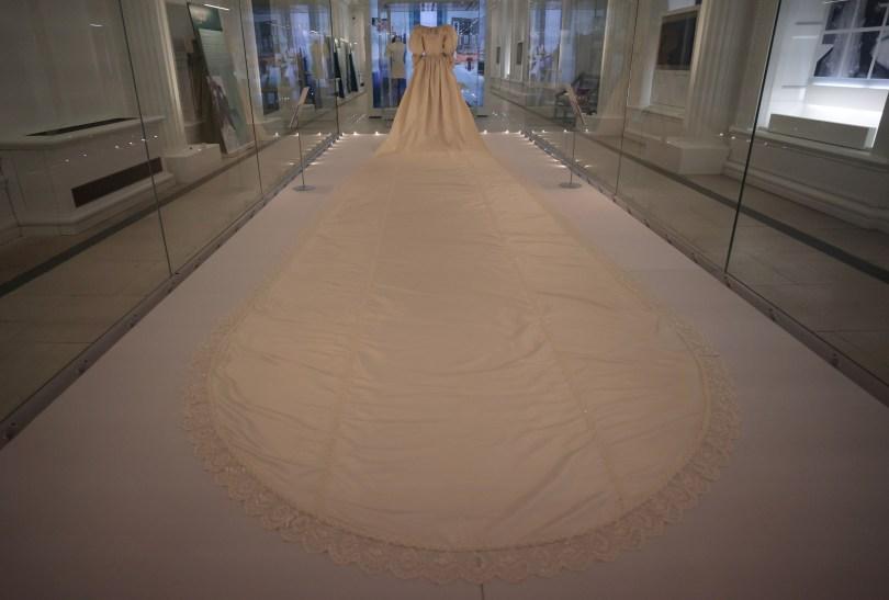 The wedding dress worn by Diana, Princess of Wales is seen on display at Kensington Palace in London, Britain, June 7, 2021. REUTERS/Hannah McKay