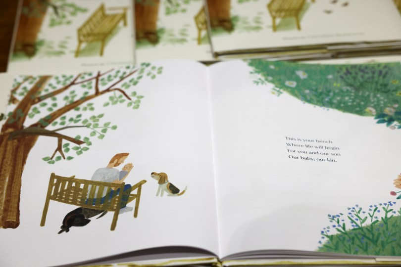 """A copy of """"The Bench"""", a children's book written by Meghan, Britain's Duchess of Sussex, is displayed at a Waterstones store in London, Britain, June 8, 2021. REUTERS/Henry Nicholls"""