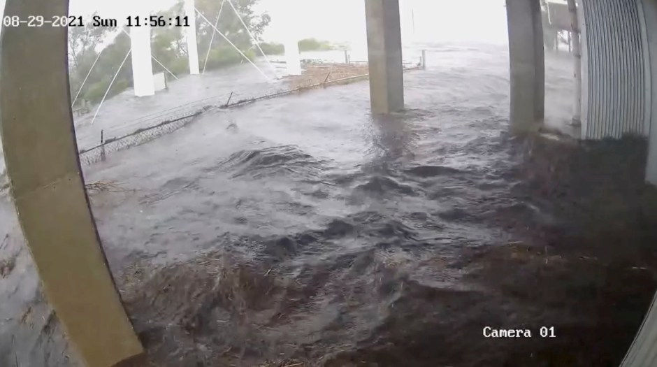 A security camera footage outside Fire Station #12 after hurricane Ida struck, in Delacroix, St. Bernard Parish, Louisiana, U.S. August 29, 2021 in this still image obtained from a video on August 31, 2021.  St. Bernard Parish Government / Delacroix Fire Station 12/Handout via REUTERS