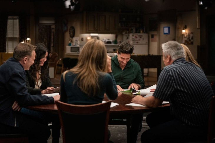 """Matthew Perry, Courteney Cox, David Schwimmer, Lisa Kudrow, Matt LeBlanc and Jennifer Aniston are seen during the """"Friends"""" reunion. Courtesy of HBO Max"""