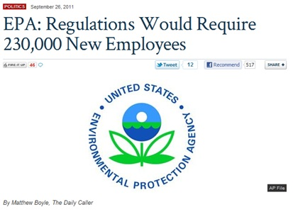Fox Nation headline: EPA: Regulations Would Require 230,000 New Employees
