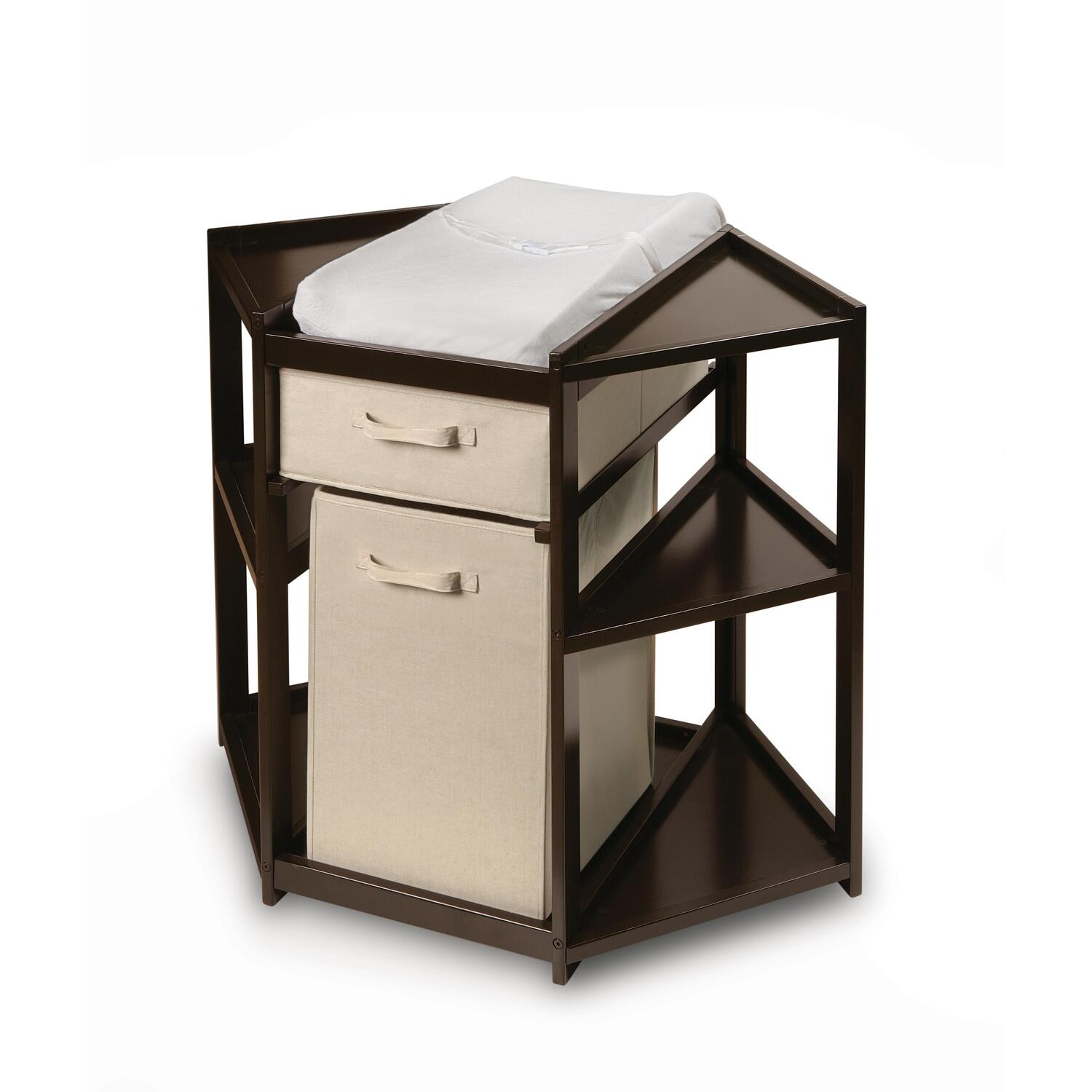 Espresso Diaper Corner Changing Table with Hamper and Basket  OJCommerce