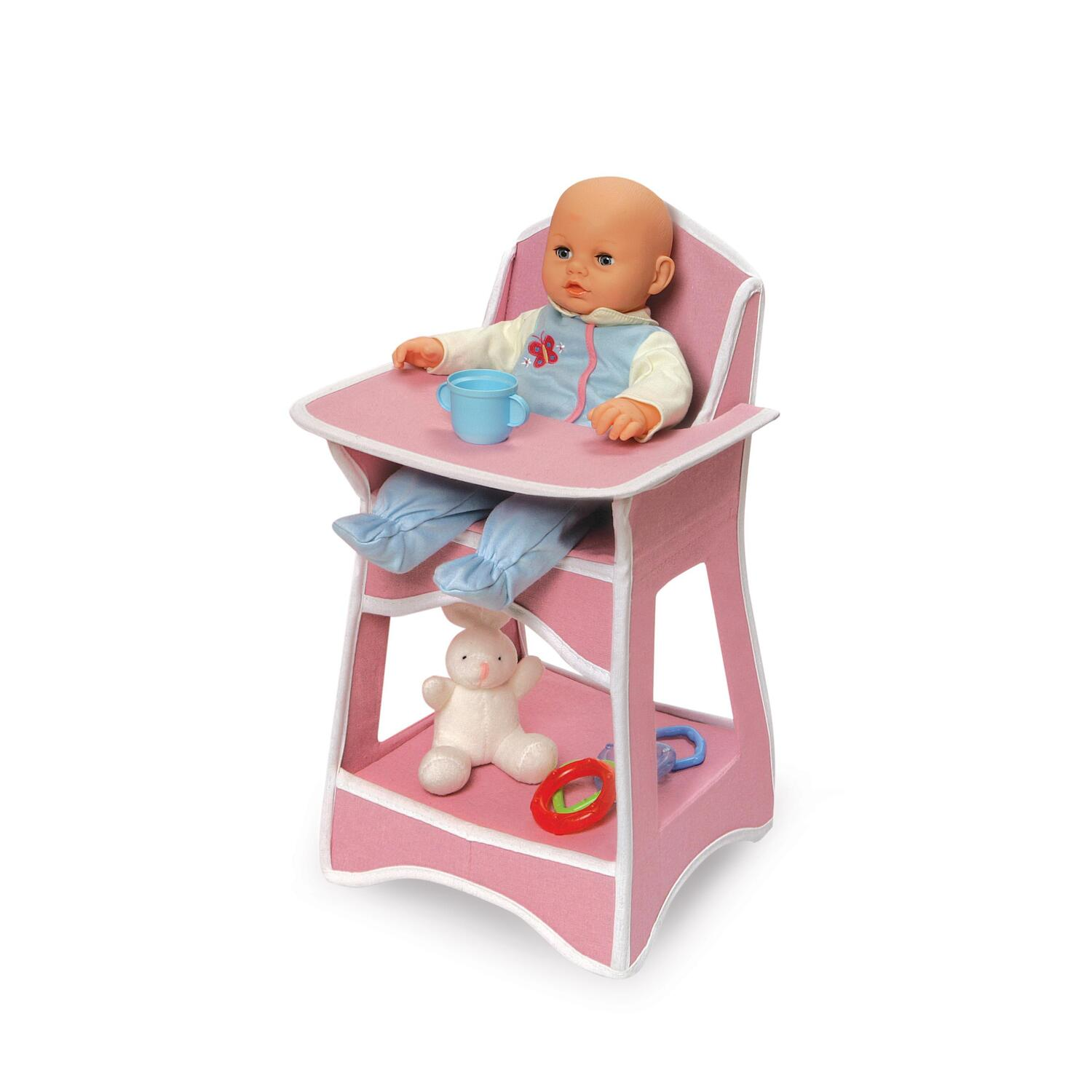 high chair basket harley davidson rocking badger folding doll furniture set with storage crib