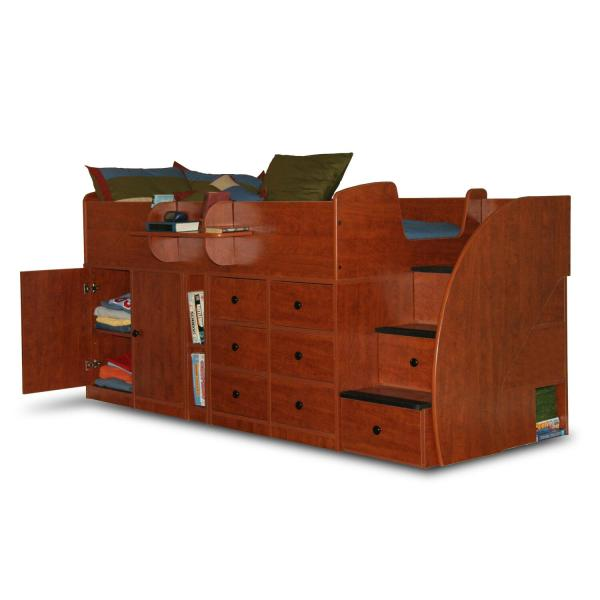 Berg Furniture Captain' Bed Twin With Drawers Cabinet & 3