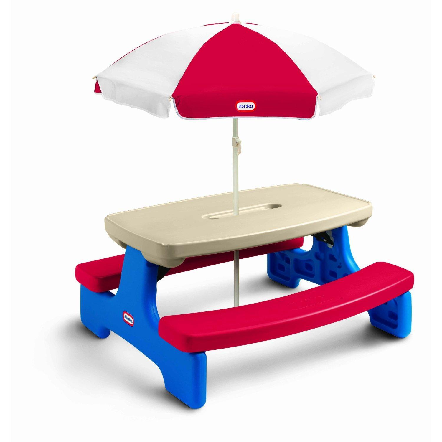 little tikes table and chairs set toys r us burgundy chair covers wedding easy store picnic with umbrella by oj