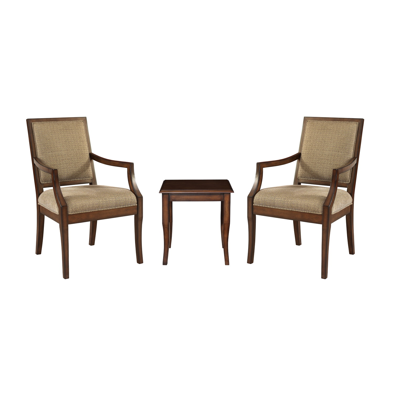 3Pc Set  2 RectBack Accent Chairs with 1 Light Cherry