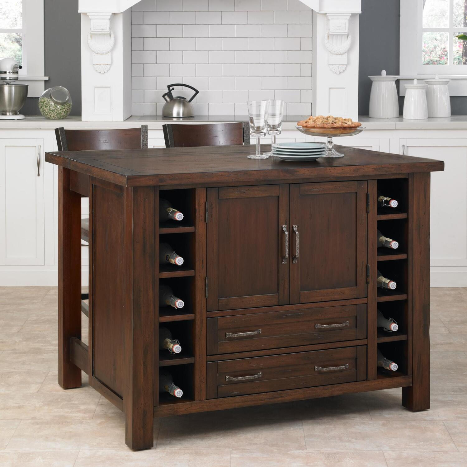 kitchen island bar stools benches home styles cabin creek with breakfast
