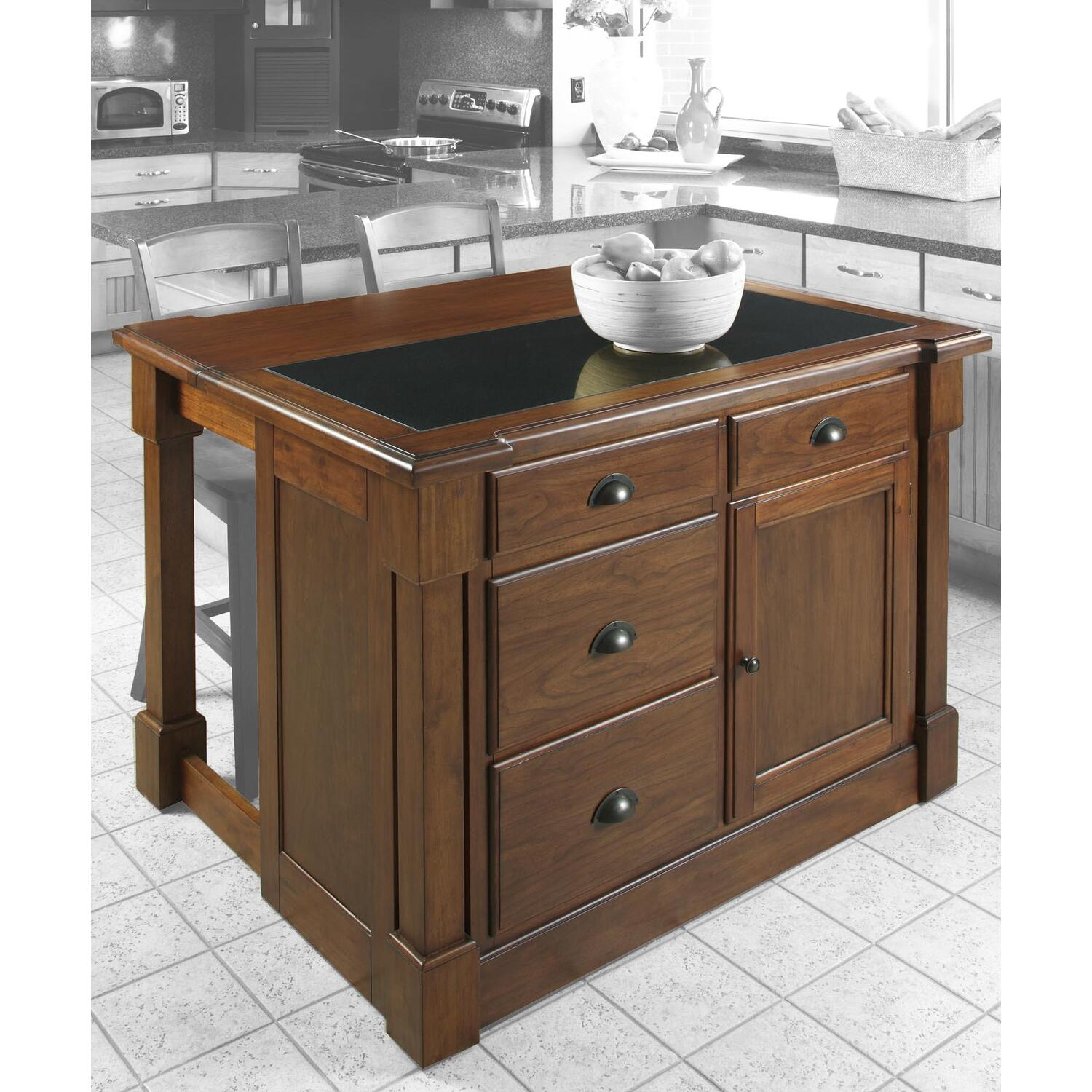 kitchen island with drop leaf and stools home styles 5520 945 aspen w hidden