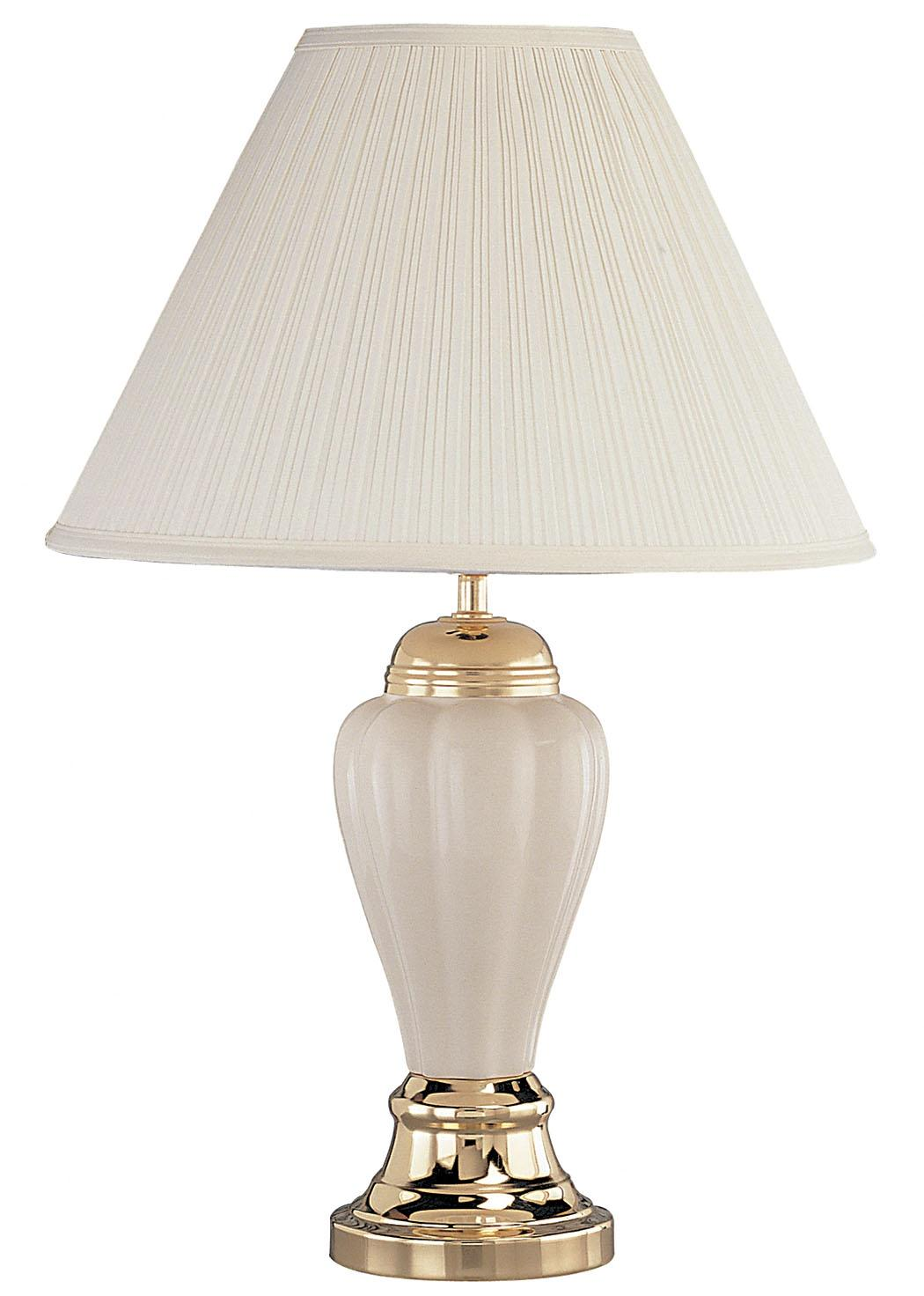 ORE International Gold Base Ceramic Table Lamp by OJ