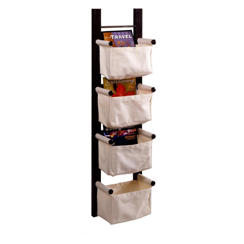 Winsome Storage Magazine Rack With 4 Canvas Baskets By Oj