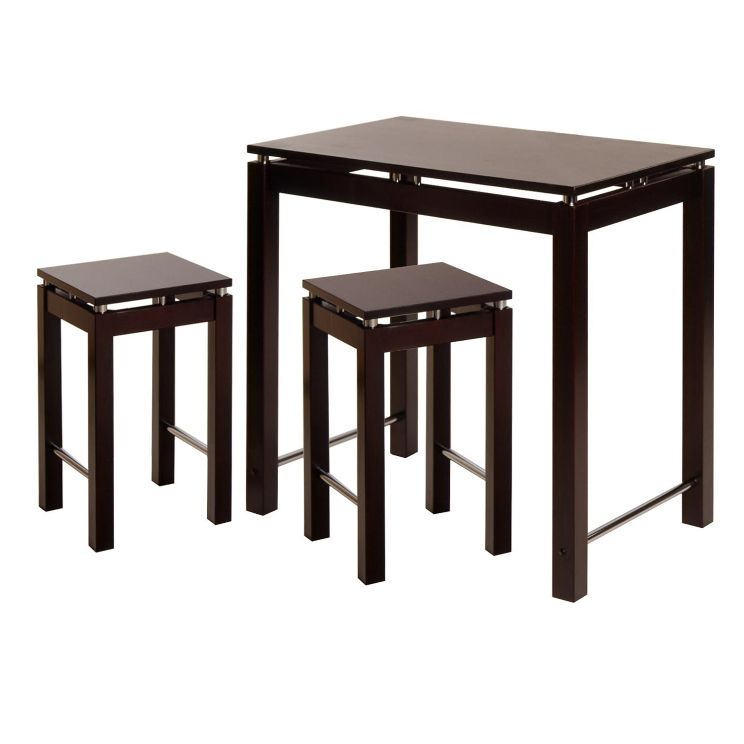 Winsome Linea 3pc Pub Kitchen Set, Island Table with 2
